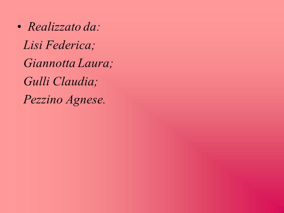 Realizzato da: Lisi Federica; Giannotta Laura; Gulli Claudia; Pezzino Agnese.