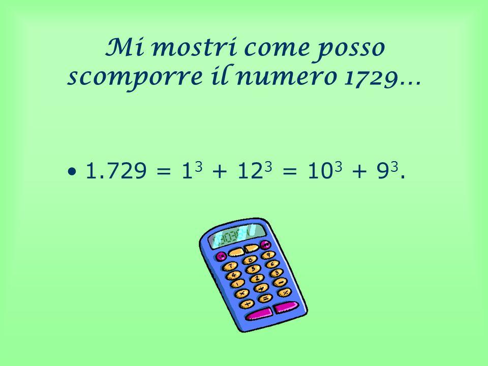 Mi mostri come posso scomporre il numero 1729…