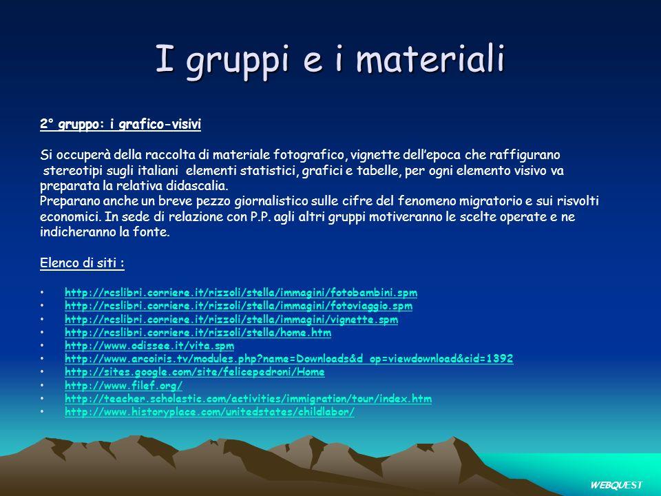 I gruppi e i materiali 2° gruppo: i grafico-visivi