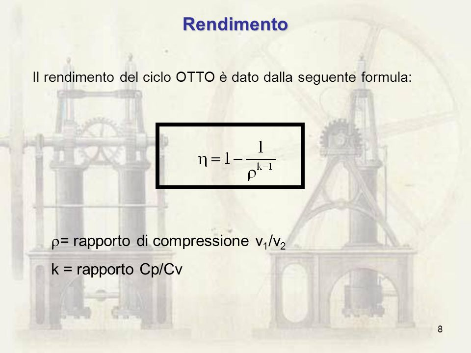 Rendimento = rapporto di compressione v1/v2 k = rapporto Cp/Cv