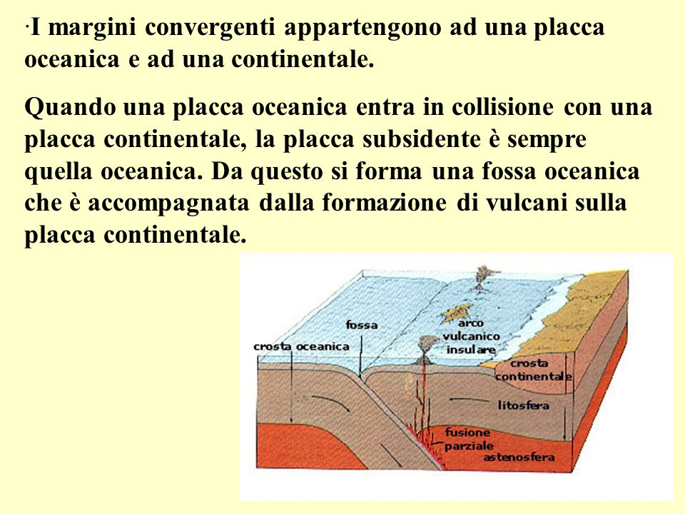I margini convergenti appartengono ad una placca oceanica e ad una continentale.