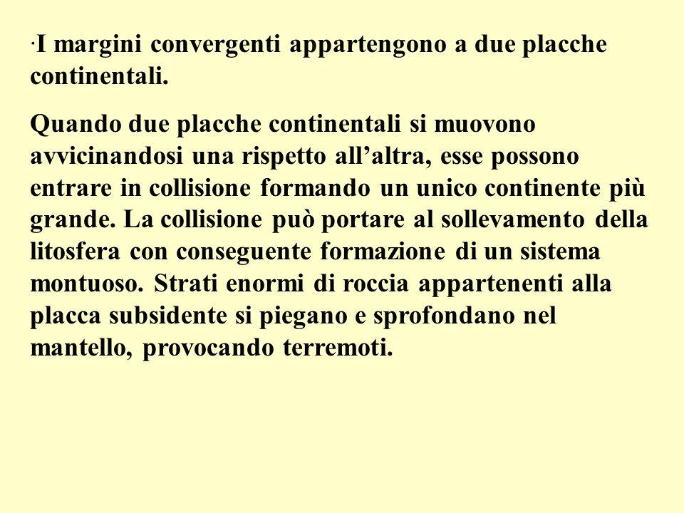 I margini convergenti appartengono a due placche continentali.