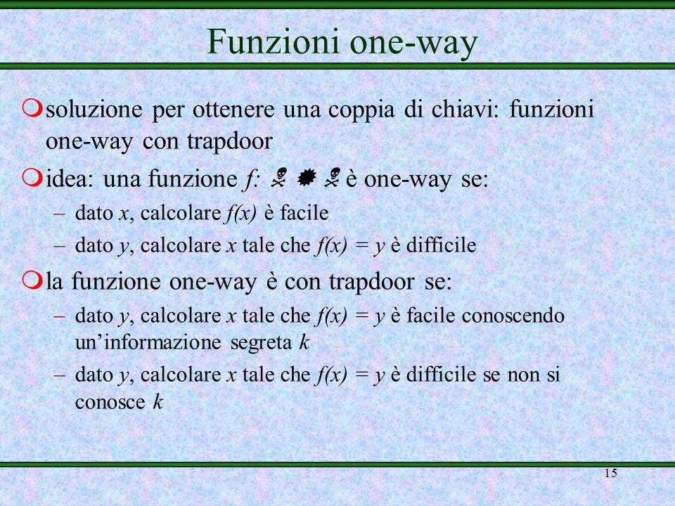 Funzioni one-way soluzione per ottenere una coppia di chiavi: funzioni one-way con trapdoor. idea: una funzione f:    è one-way se: