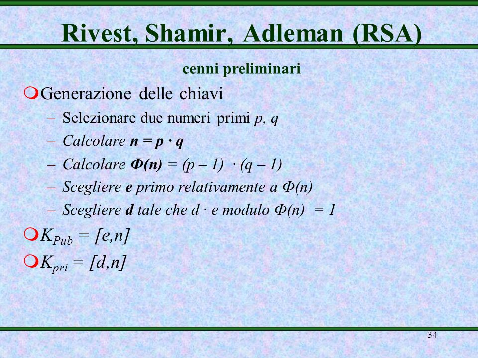Rivest, Shamir, Adleman (RSA) cenni preliminari
