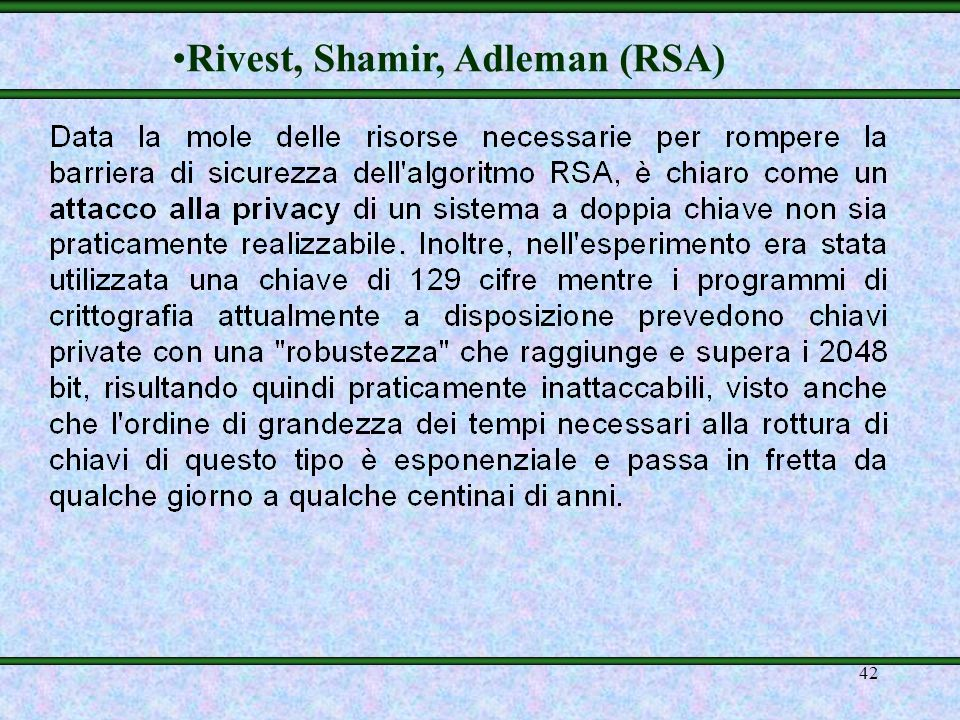 Rivest, Shamir, Adleman (RSA)