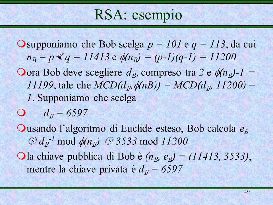 RSA: esempio supponiamo che Bob scelga p = 101 e q = 113, da cui nB = p q = 11413 e (nB) = (p-1)(q-1) = 11200.
