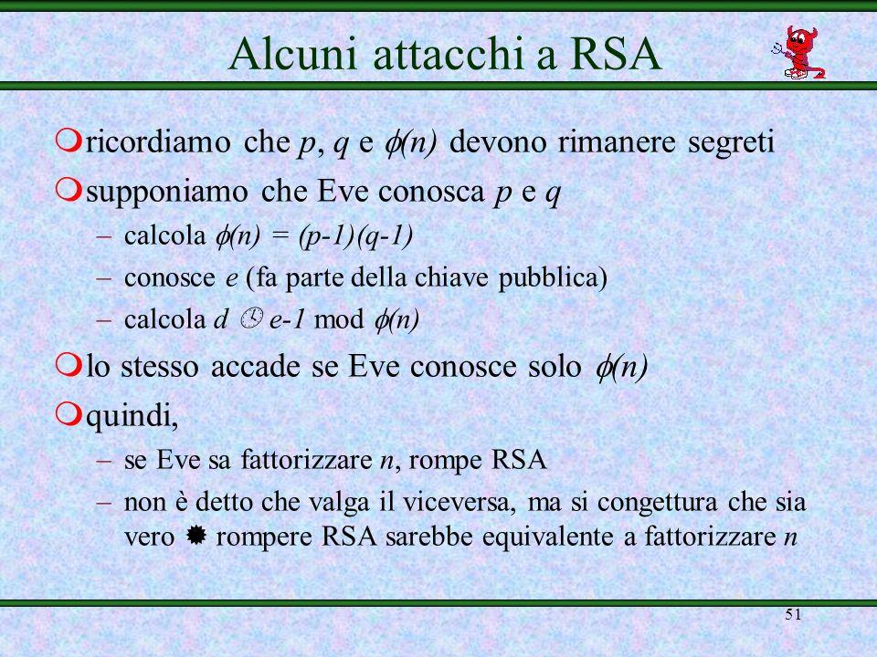 Alcuni attacchi a RSAricordiamo che p, q e (n) devono rimanere segreti. supponiamo che Eve conosca p e q.