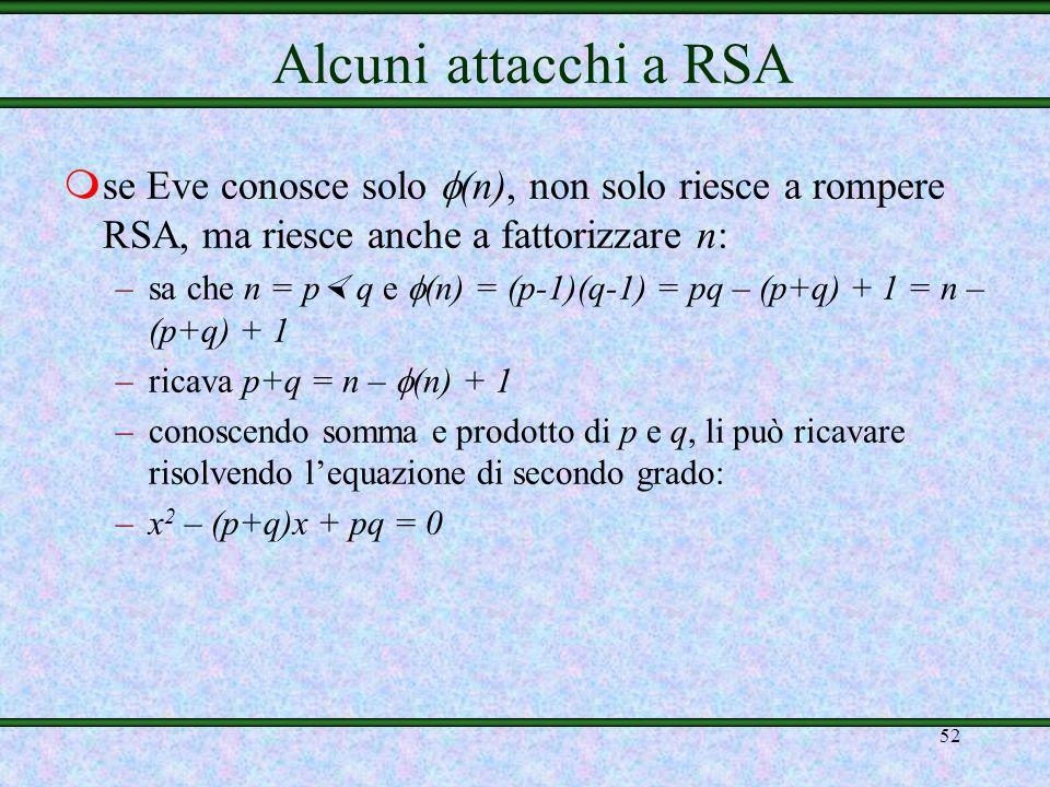 Alcuni attacchi a RSAse Eve conosce solo (n), non solo riesce a rompere RSA, ma riesce anche a fattorizzare n: