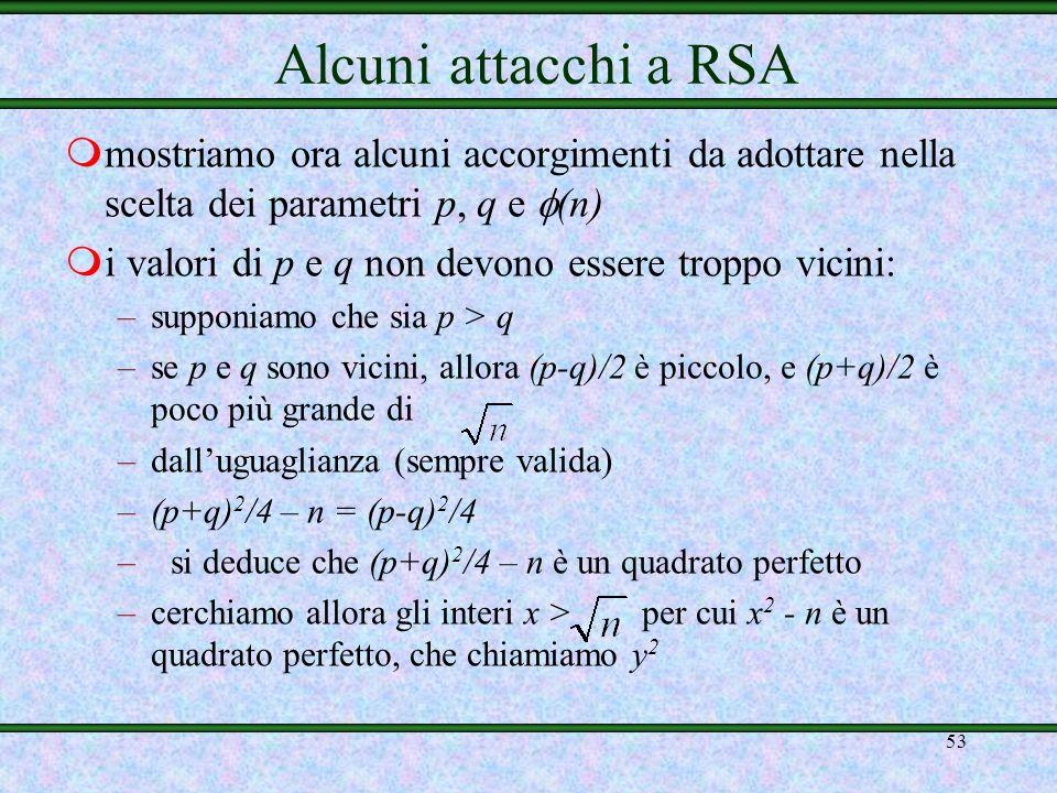 Alcuni attacchi a RSAmostriamo ora alcuni accorgimenti da adottare nella scelta dei parametri p, q e (n)