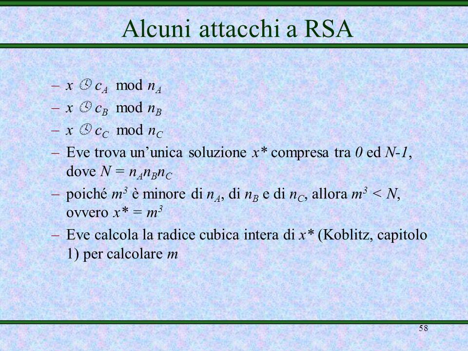 Alcuni attacchi a RSA x  cA mod nA x  cB mod nB x  cC mod nC