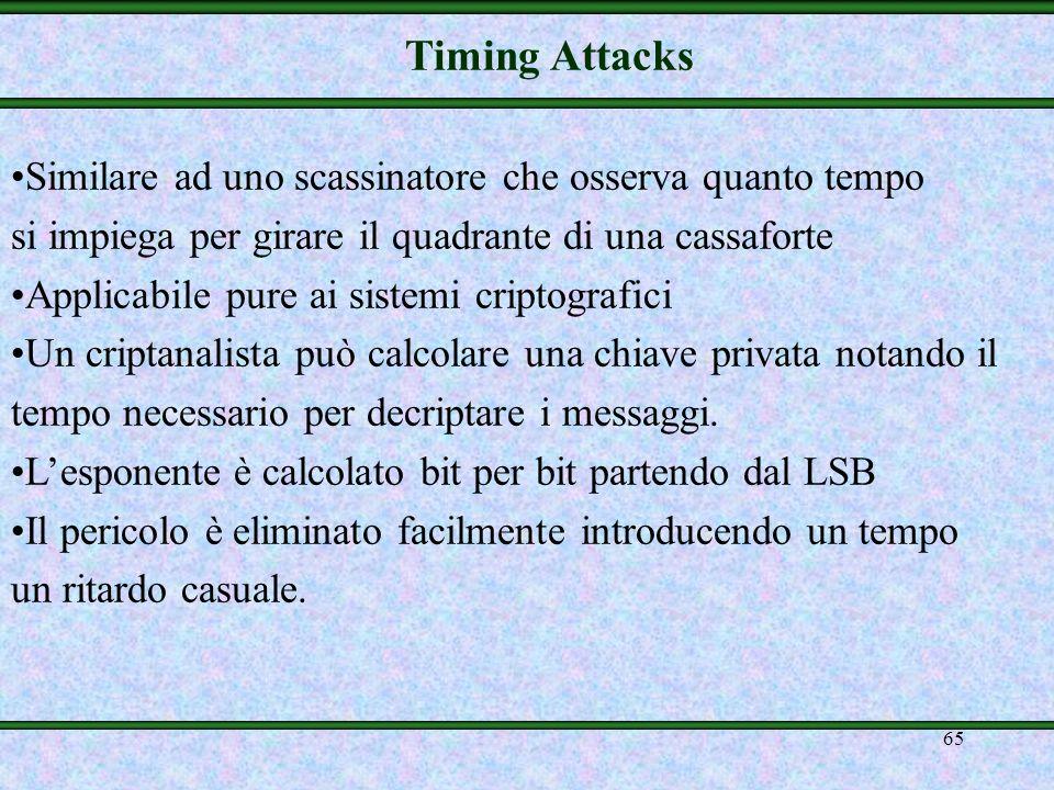 Timing Attacks Similare ad uno scassinatore che osserva quanto tempo