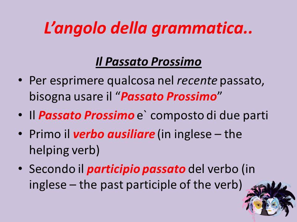 L'angolo della grammatica..
