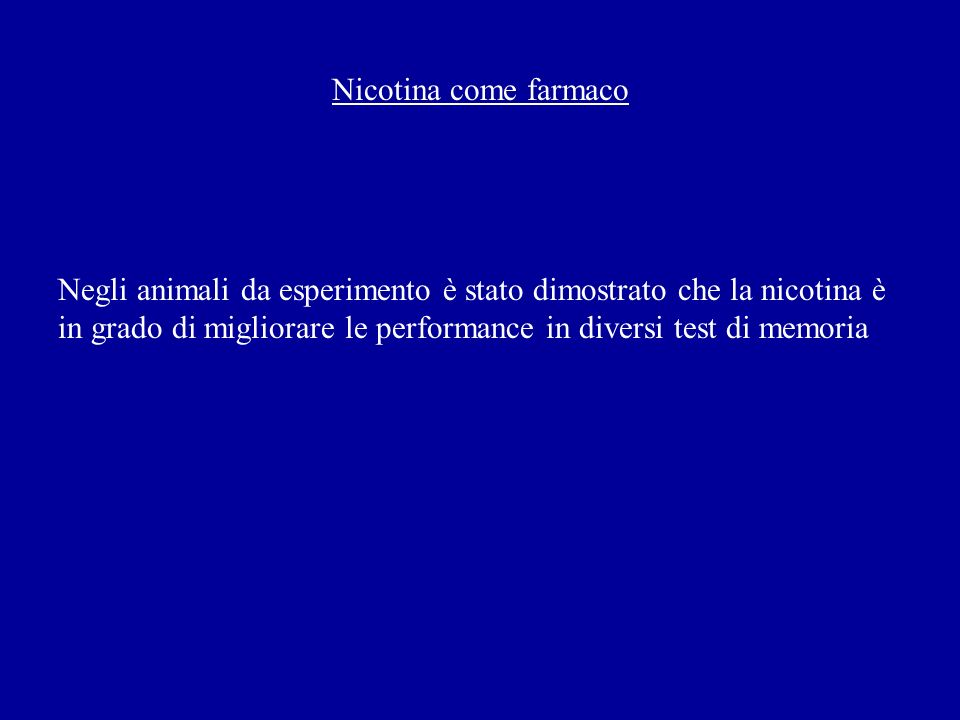 Nicotina come farmaco