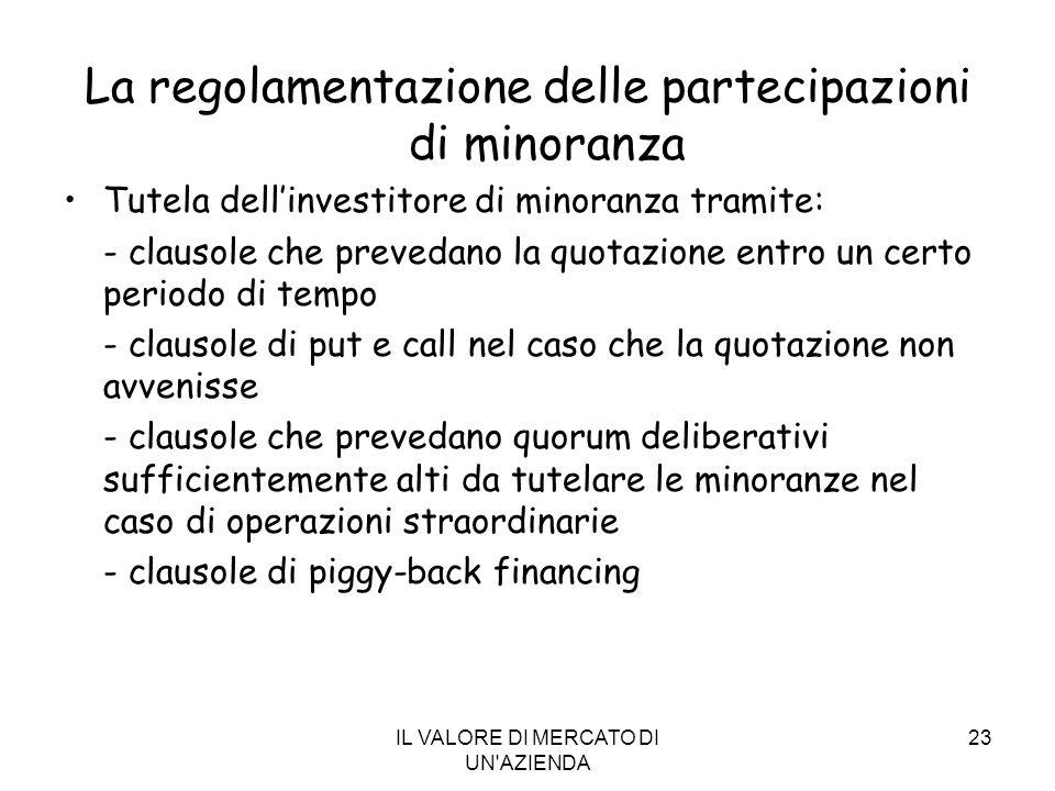 La regolamentazione delle partecipazioni di minoranza
