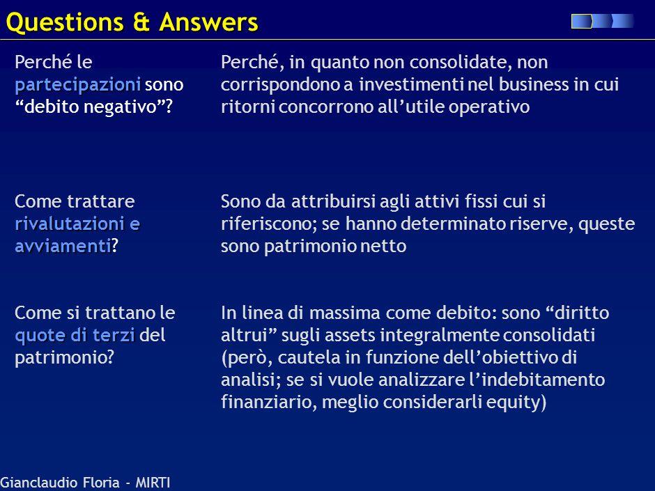Questions & Answers Perché le partecipazioni sono debito negativo