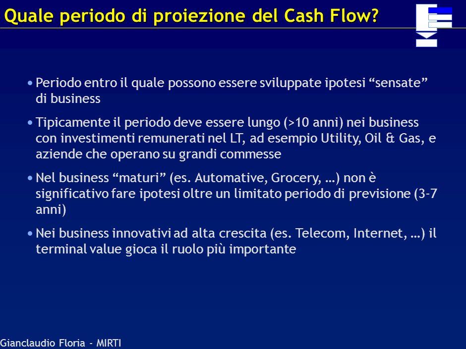 Quale periodo di proiezione del Cash Flow