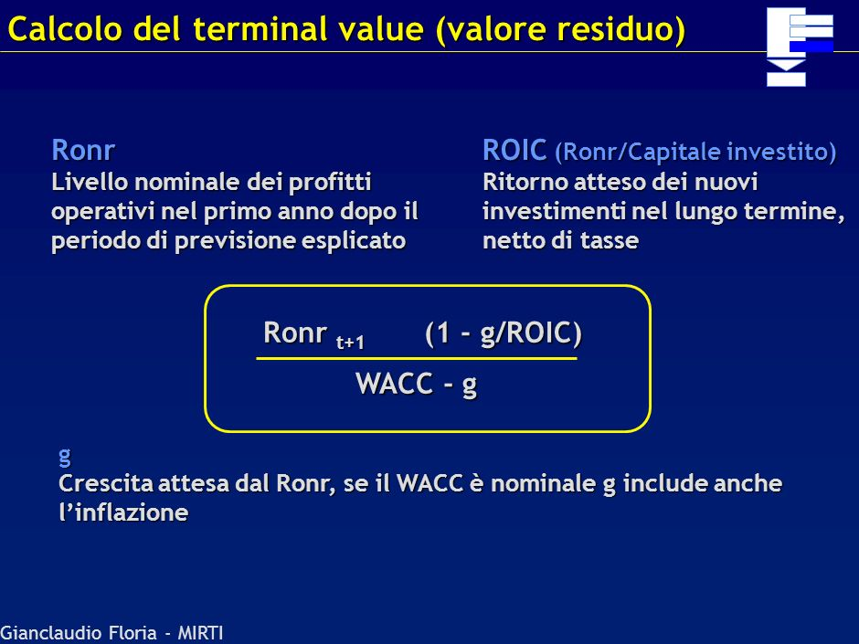 Calcolo del terminal value (valore residuo)