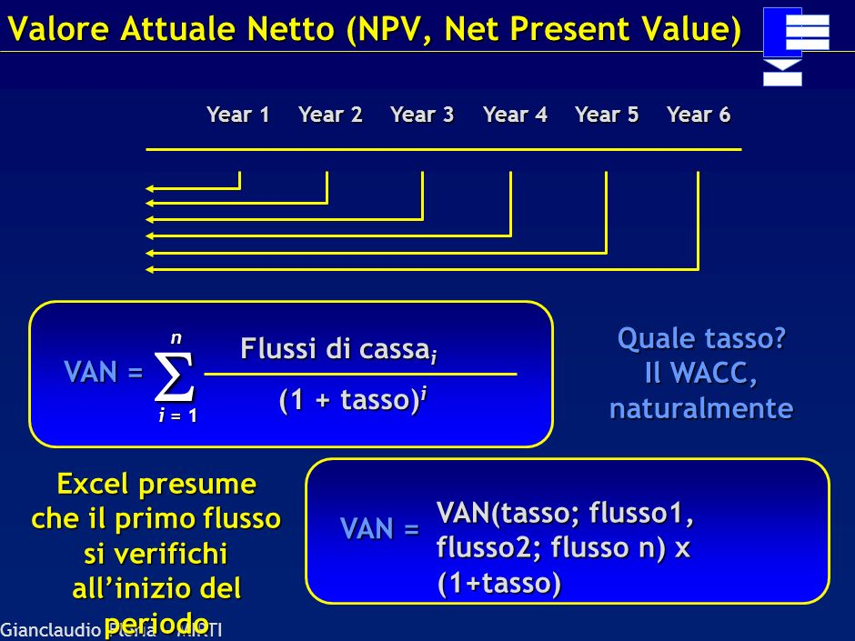 Valore Attuale Netto (NPV, Net Present Value)