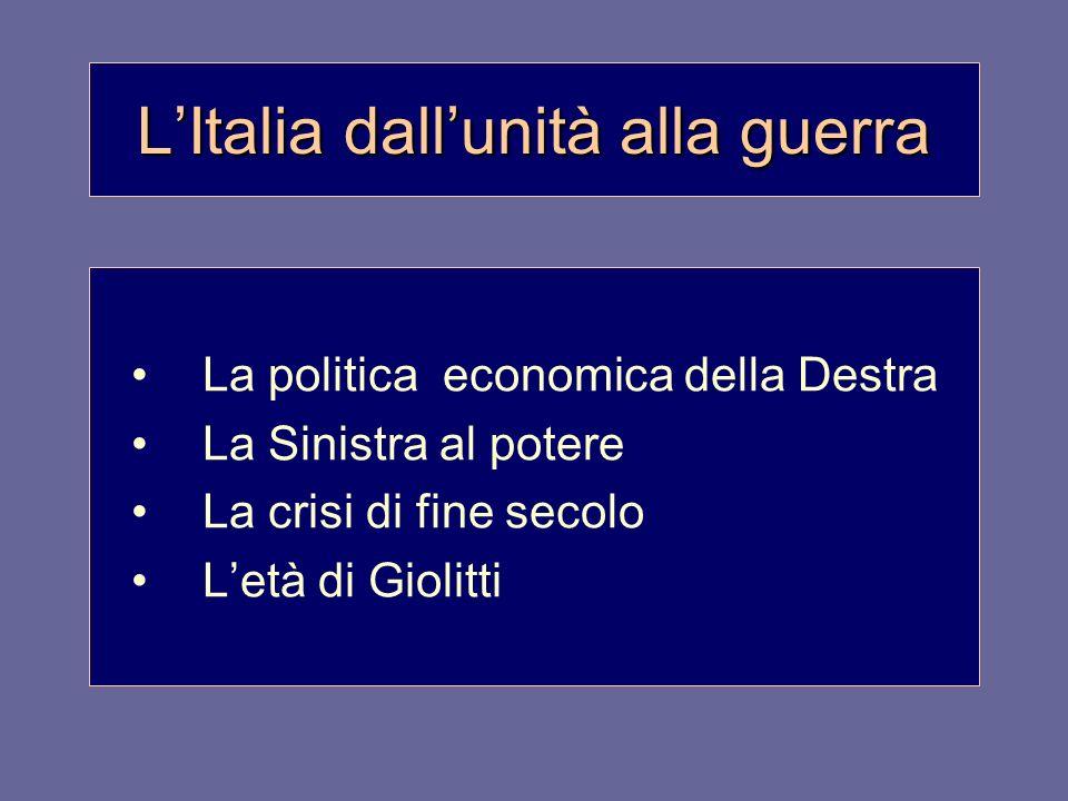 L'Italia dall'unità alla guerra
