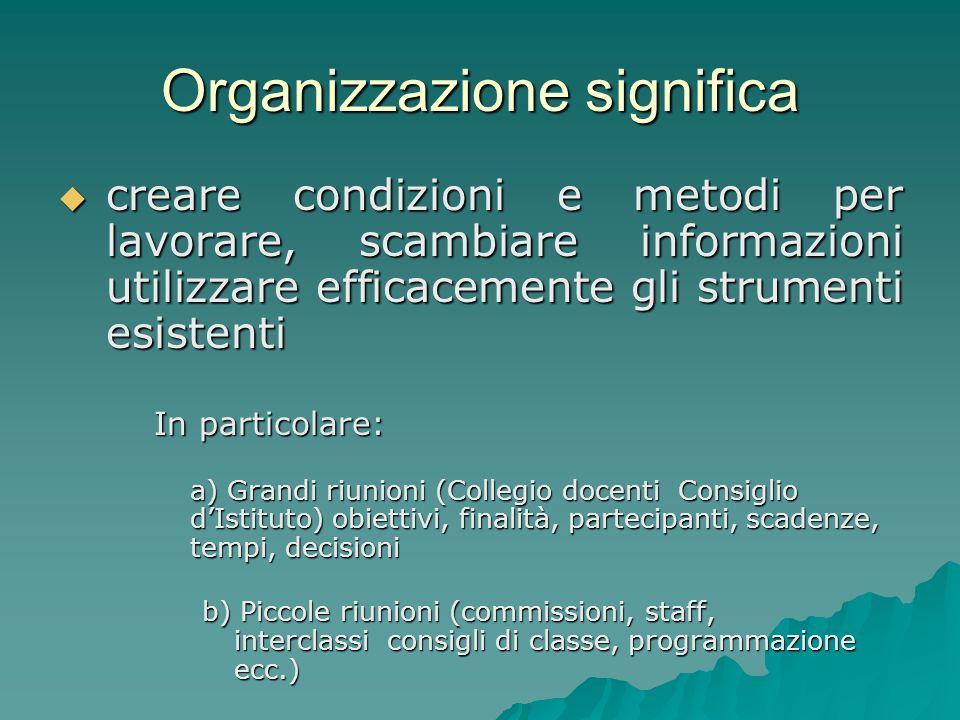 Organizzazione significa