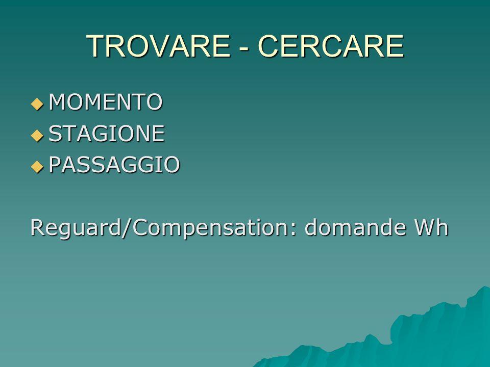 TROVARE - CERCARE MOMENTO STAGIONE PASSAGGIO