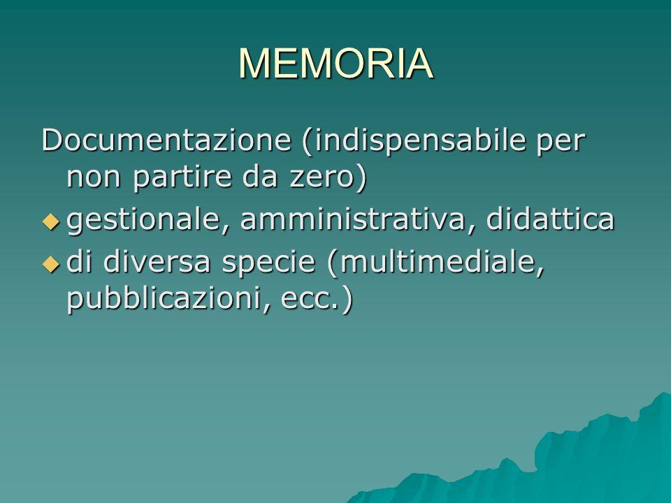 MEMORIA Documentazione (indispensabile per non partire da zero)