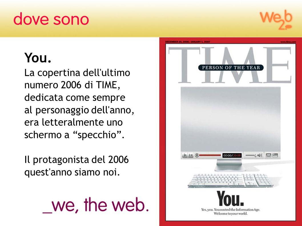 You.La copertina dell ultimo numero 2006 di TIME, dedicata come sempre. al personaggio dell anno, era letteralmente uno schermo a specchio .