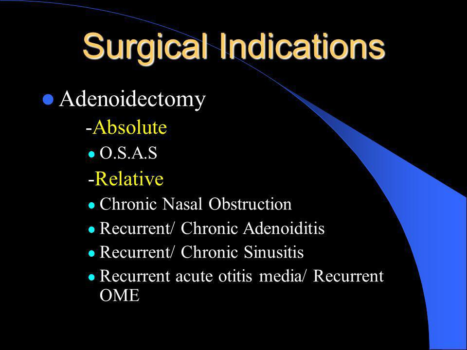 Surgical Indications Adenoidectomy -Absolute -Relative O.S.A.S