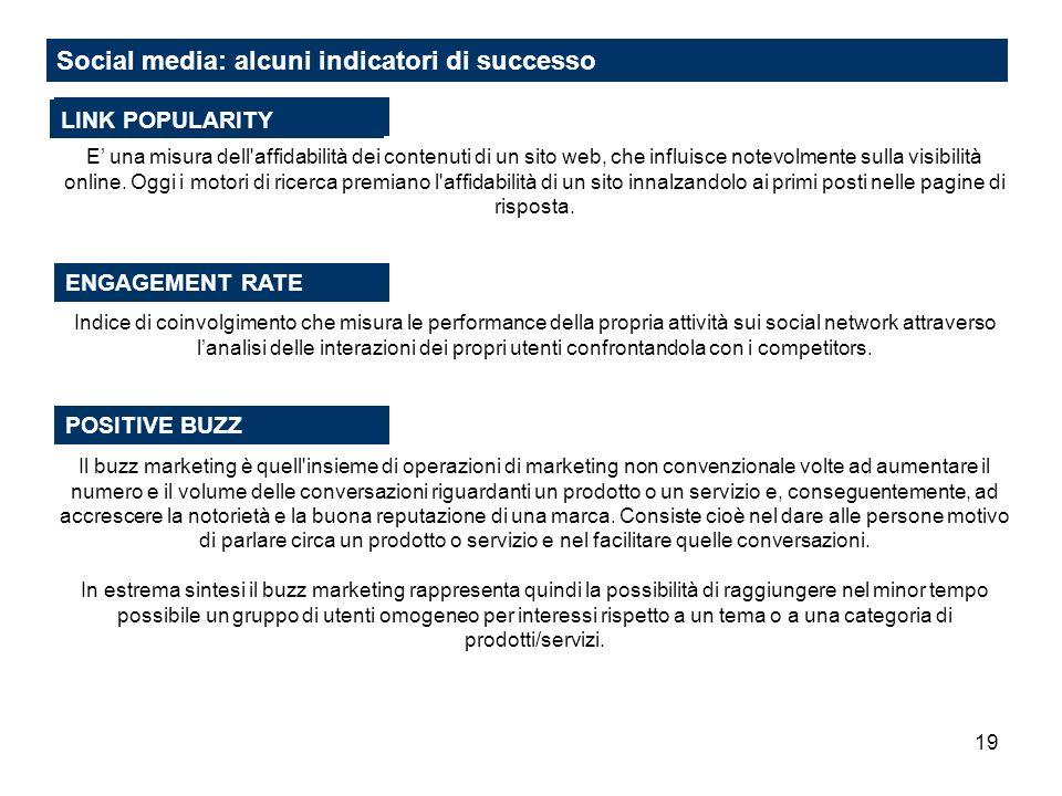 Social media: alcuni indicatori di successo