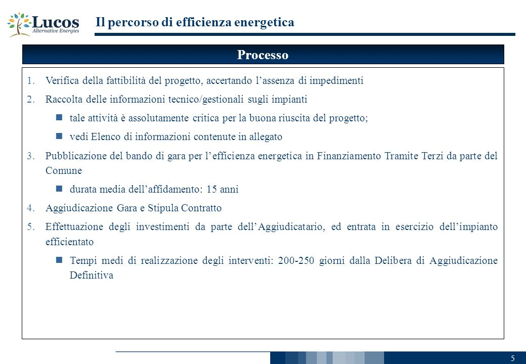 Il percorso di efficienza energetica