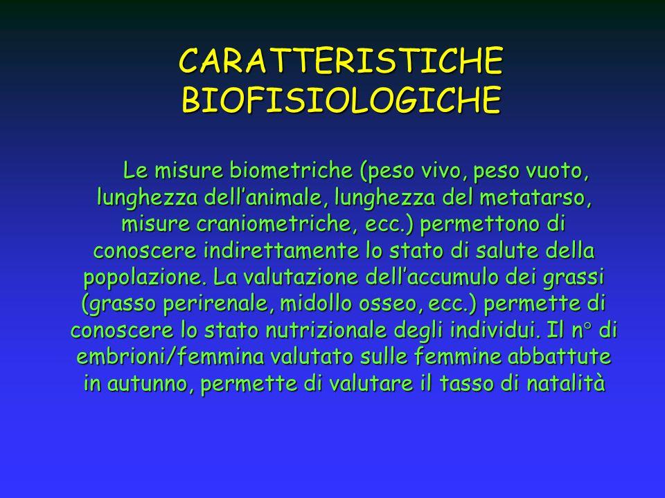 CARATTERISTICHE BIOFISIOLOGICHE