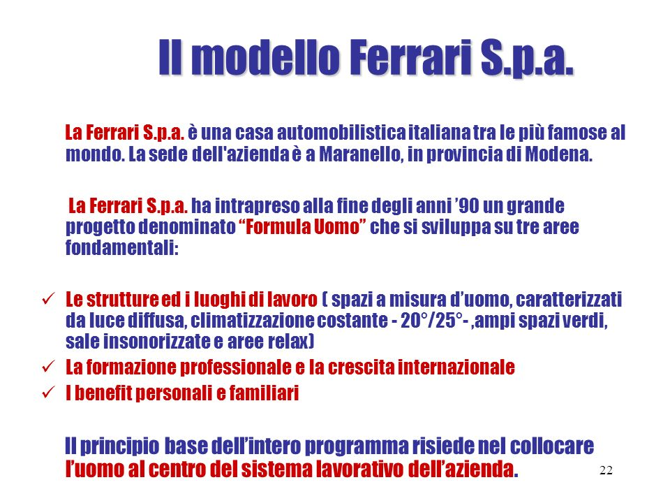 Il modello Ferrari S.p.a.