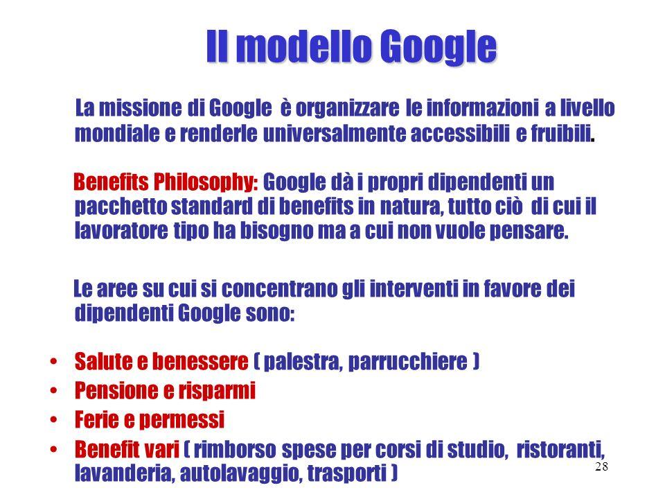 Il modello Google La missione di Google è organizzare le informazioni a livello mondiale e renderle universalmente accessibili e fruibili.
