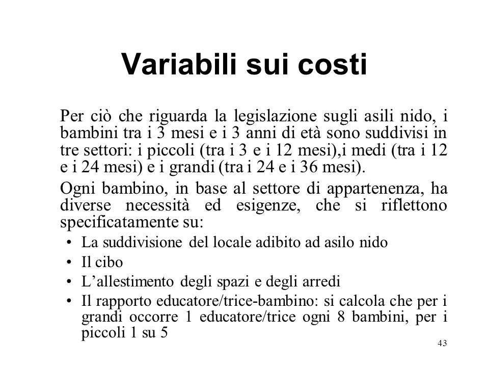 Variabili sui costi