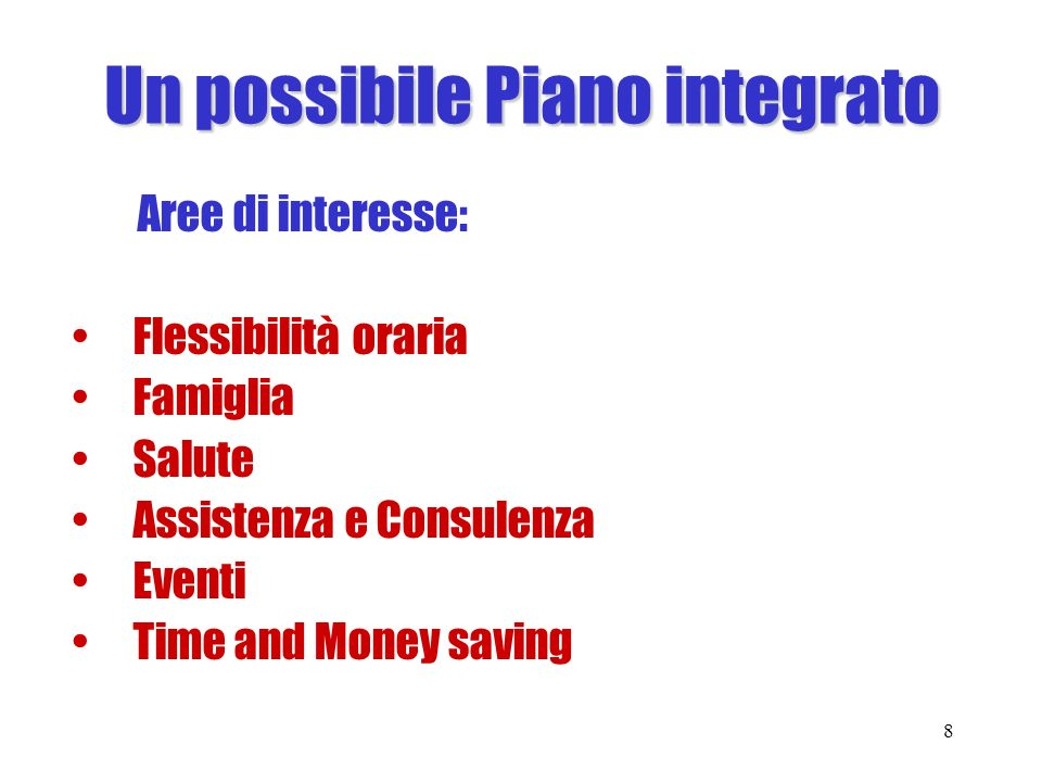 Un possibile Piano integrato