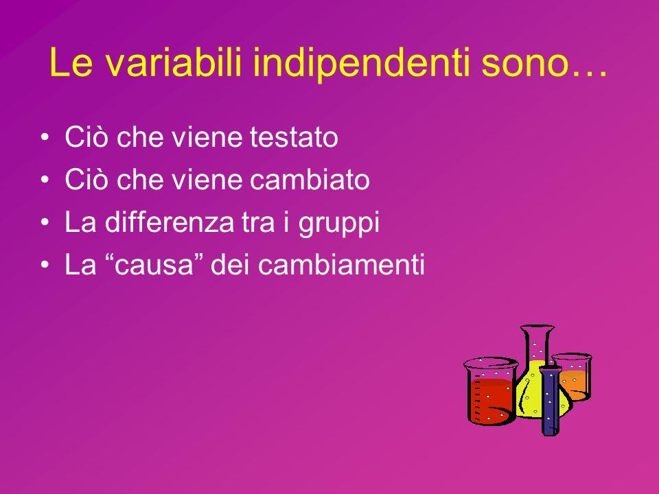 Le variabili indipendenti sono…