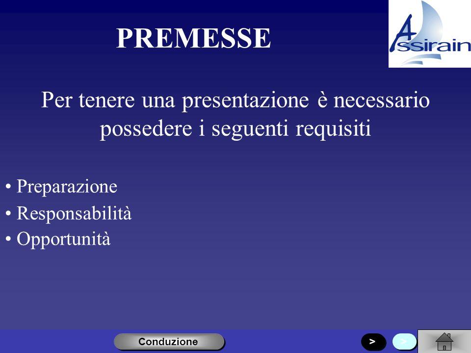 PREMESSE Per tenere una presentazione è necessario possedere i seguenti requisiti. Preparazione. Responsabilità.