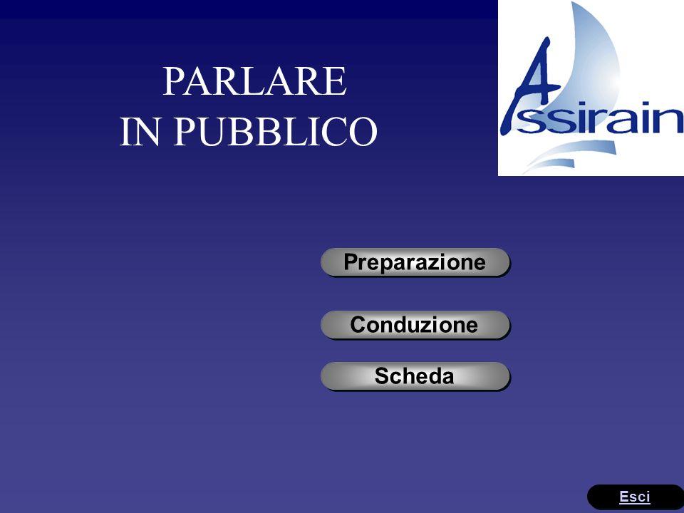 PARLARE IN PUBBLICO Preparazione Conduzione Scheda