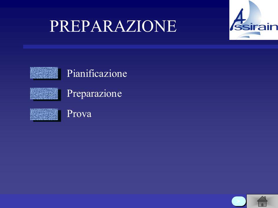PREPARAZIONE Pianificazione Preparazione Prova >