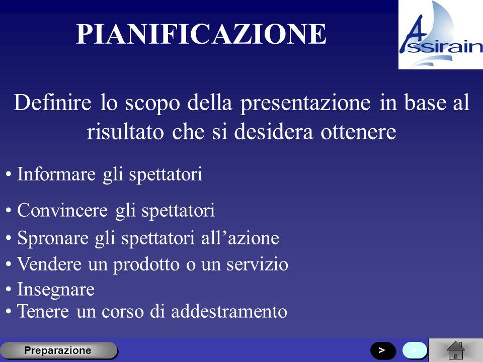PIANIFICAZIONE Definire lo scopo della presentazione in base al risultato che si desidera ottenere.