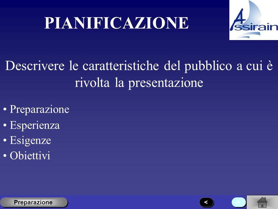 PIANIFICAZIONE Descrivere le caratteristiche del pubblico a cui è rivolta la presentazione. Preparazione.