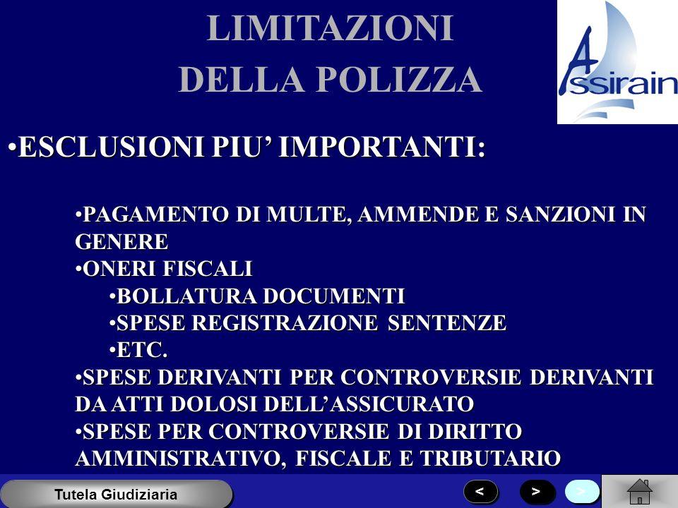 LIMITAZIONI DELLA POLIZZA