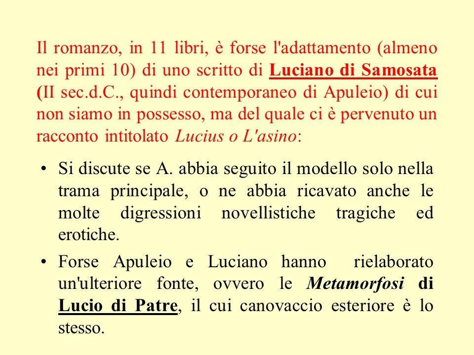 Il romanzo, in 11 libri, è forse l adattamento (almeno nei primi 10) di uno scritto di Luciano di Samosata (II sec.d.C., quindi contemporaneo di Apuleio) di cui non siamo in possesso, ma del quale ci è pervenuto un racconto intitolato Lucius o L asino: