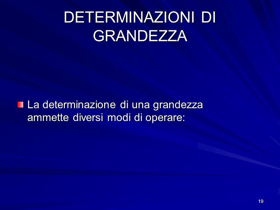 DETERMINAZIONI DI GRANDEZZA