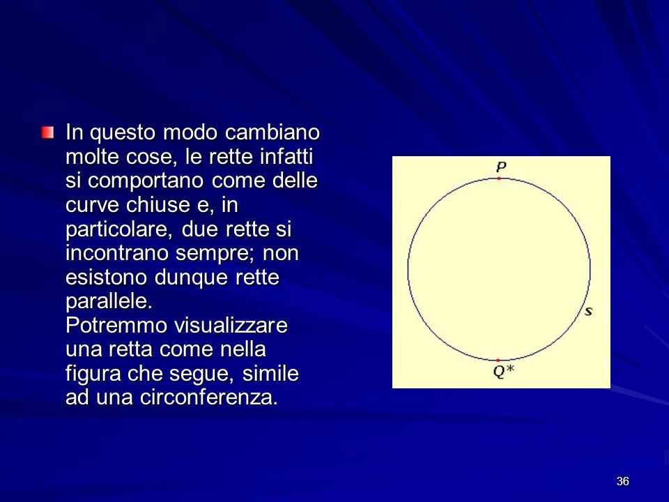 In questo modo cambiano molte cose, le rette infatti si comportano come delle curve chiuse e, in particolare, due rette si incontrano sempre; non esistono dunque rette parallele.