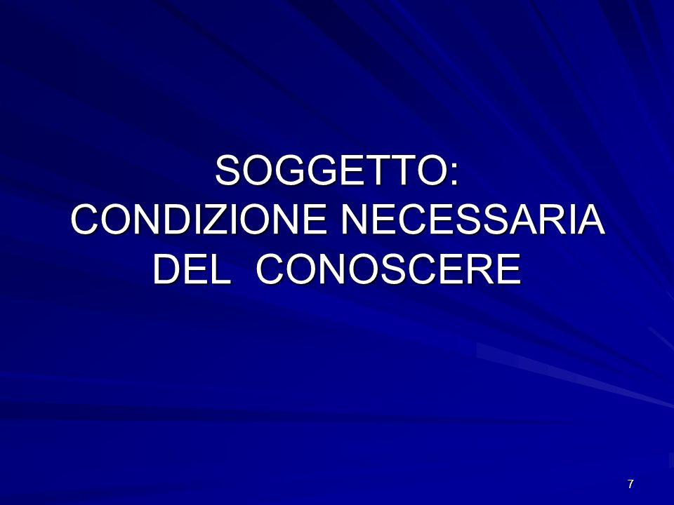 SOGGETTO: CONDIZIONE NECESSARIA DEL CONOSCERE