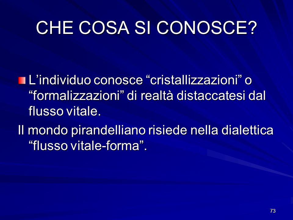 CHE COSA SI CONOSCE L'individuo conosce cristallizzazioni o formalizzazioni di realtà distaccatesi dal flusso vitale.