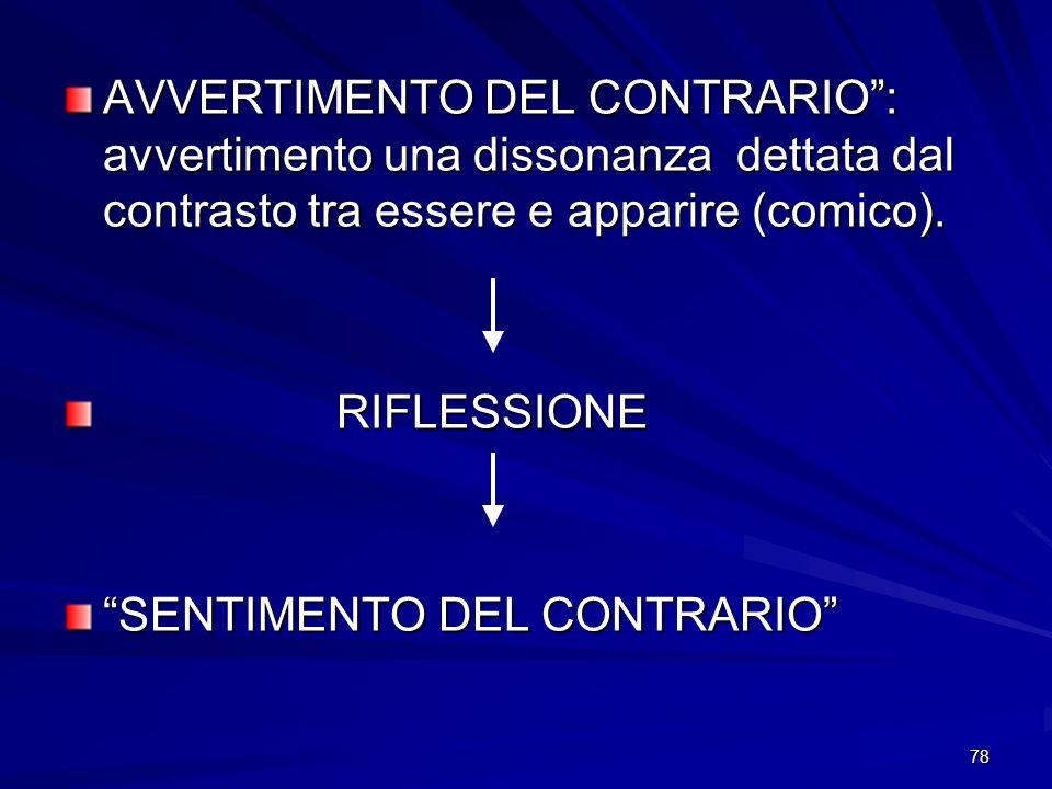 AVVERTIMENTO DEL CONTRARIO : avvertimento una dissonanza dettata dal contrasto tra essere e apparire (comico).