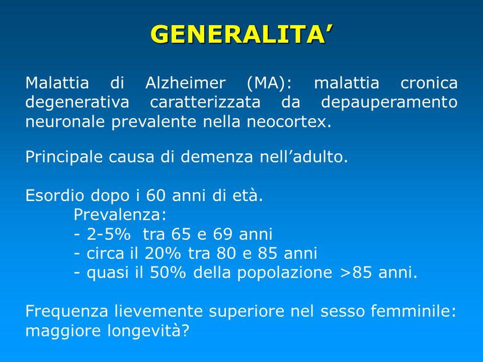GENERALITA' Malattia di Alzheimer (MA): malattia cronica degenerativa caratterizzata da depauperamento neuronale prevalente nella neocortex.