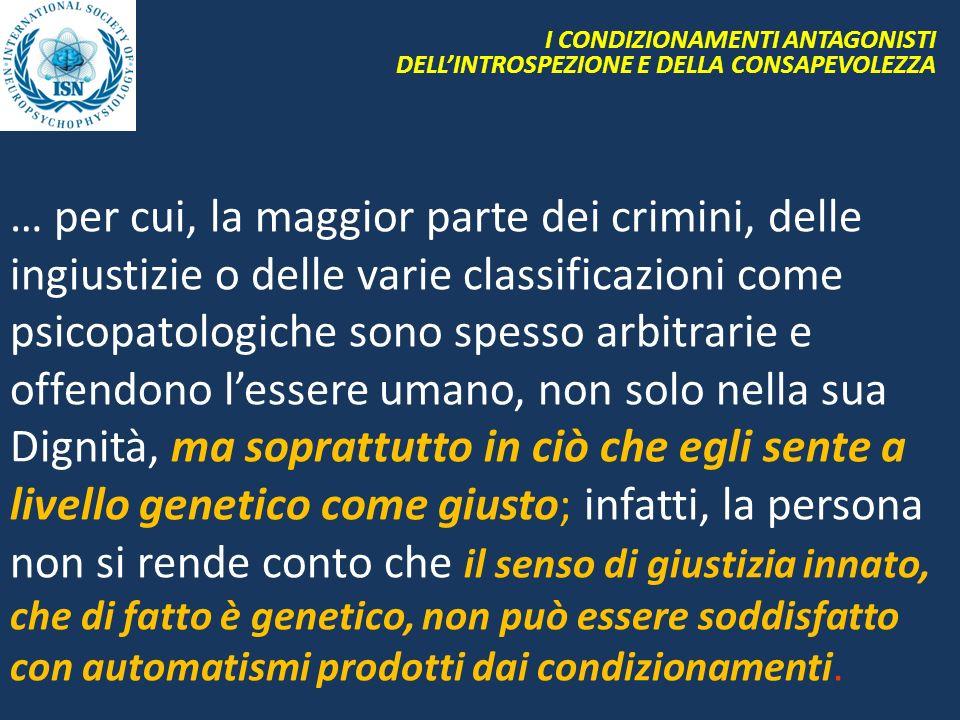 I CONDIZIONAMENTI ANTAGONISTI DELL'INTROSPEZIONE E DELLA CONSAPEVOLEZZA